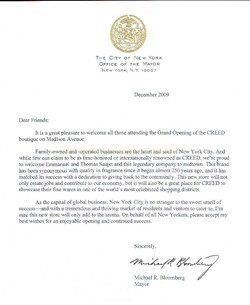 A Letter from Mayor Bloomberg to Creed on the Occasion of the Madison Boutique Opening {Fragrance News} {Perfume History}
