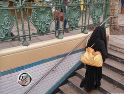 Full Hijab on Metro Stairs {Paris Photo}